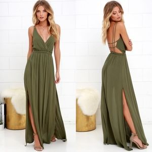 Lulu's Lost In Paradise Olive Green Maxi Dress | M